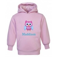 Owl Any Name Childrens Embroidered Hoodie