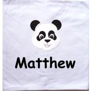Panda Applique Design + Text Baby Cotton / Fleece Blanket