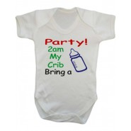 Party 2am My Crib Bring a Bottle Baby Vest