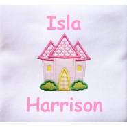 Pink Castle Applique Design + Text Baby Cotton / Fleece Blanket