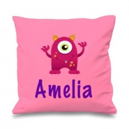 Pink Monster Any Name Printed Cushion