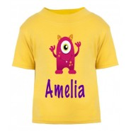 Pink Monster Any Name Childrens Printed T-Shirt
