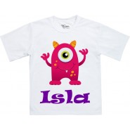 Pink Monster Any Name Childrens T-Shirt