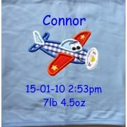 Aeroplane Applique Design + Text Baby Cotton / Fleece Blanket