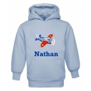 Aeroplane Any Name Childrens Embroidered Hoodie