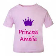 Princess + Crown Any Name Childrens Printed T-Shirt