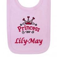 Princess Logo Any Name Baby Bib