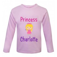 Princess Text Any Name Childrens Printed T-Shirt