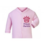 Princess Any Name Crown Baby Sleepsuit