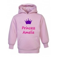 Princess + Crown Any Name Childrens Hoodie