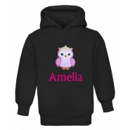 Princess Owl Any Name Childrens Embroidered Hoodie