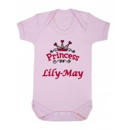 Princess Logo Any Name Baby Vest