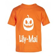 Halloween Pumpkin Silhouette Childrens Glow in Dark T-Shirt