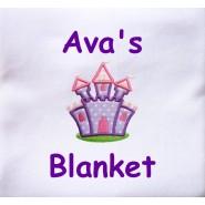 Purple Castle Applique Design + Text Baby Cotton / Fleece Blanket
