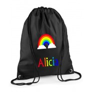 Rainbow Any Name Drawstring Bag