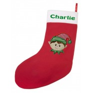 Any Name + Applique Design Large Christmas Stocking