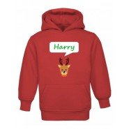 Christmas Reindeer Any Name Childrens Hoodie