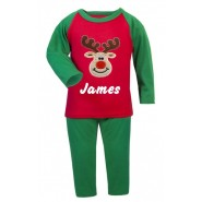 Christmas Reindeer Any Name Embroidered Pyjamas