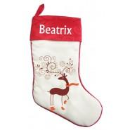 White Reindeer Socks Christmas Stocking
