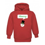 Christmas Snowman Any Name Childrens Hoodie