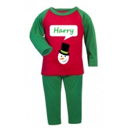 Christmas Snowman Any Name Childrens Pyjamas