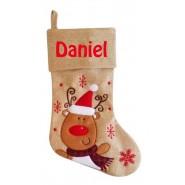 Hessian Reindeer Christmas Stocking