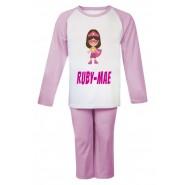 Superhero Girl Any Name Childrens Pyjamas
