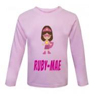 Superhero Girl Any Name Childrens Printed T-Shirt