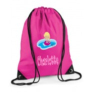 Swimming Girl Any Name Drawstring Bag