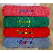 Name + Stars Embroidered Bath Towels