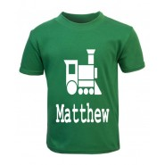 Train Silhouette Any Name Childrens Glow in Dark T-Shirt