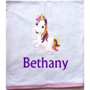 Unicorn Applique Design + Text Baby Cotton / Fleece Blanket