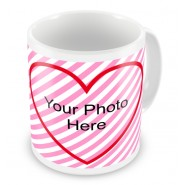 Upload Photo Heart & Banner Mug