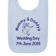 Mummy & Daddy's Wedding Day Any Date Boy Baby Bib