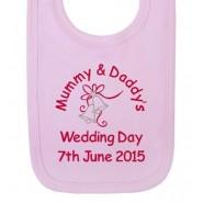 Mummy & Daddy's Wedding Day Any Date Girl Baby Bib