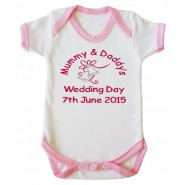 Mummy & Daddy's Wedding Day Any Date Girl Baby Vest