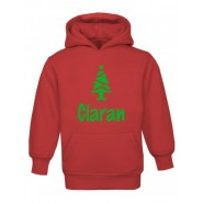 Christmas Tree Silhouette Any Name Childrens Hoodie