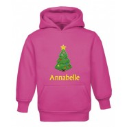 Christmas Tree Any Name Childrens Embroidered Hoodie