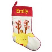 Yellow Reindeer Christmas Stocking