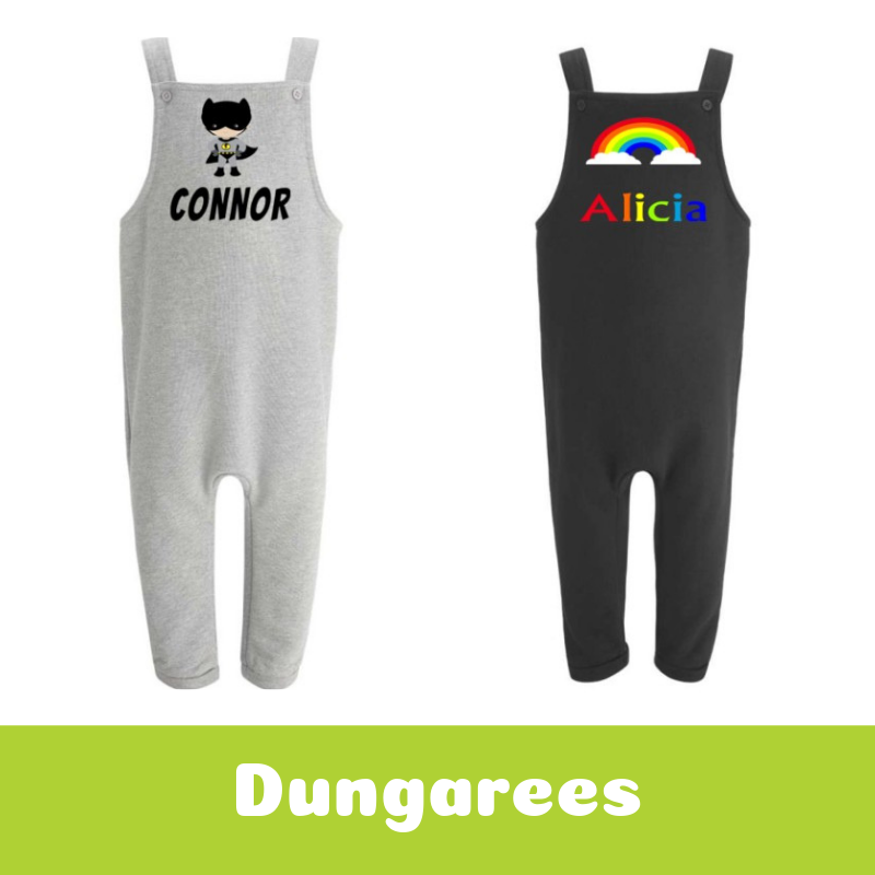 Personalised Printed Children's Dungarees