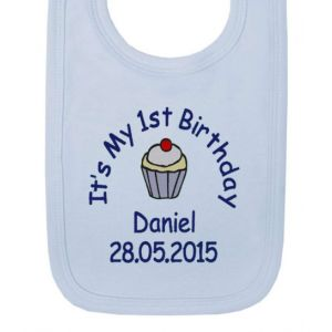 It's My 1st Birthday Cupcake Boy Baby Bib
