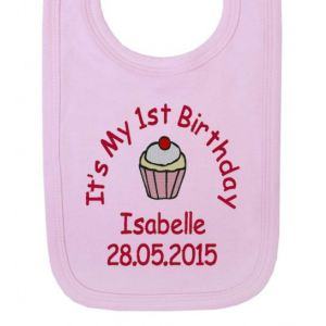 It's My 1st Birthday Cupcake Girl Baby Bib