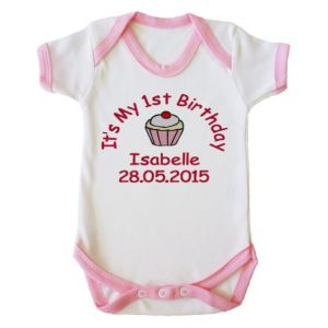 It's My 1st Birthday Cupcake Girl Baby Vest