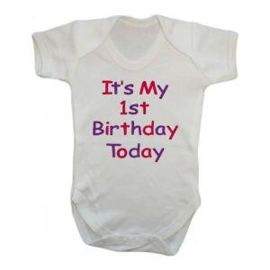 It's My 1st Birthday Today Girl Baby Vest