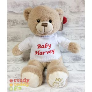 Baby My 1st Teddy Bear Brown with Knitted Jumper