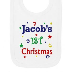 1st Christmas Confetti Boy Any Name Baby Bib