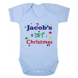 1st Christmas Confetti Boy Any Name Baby Vest