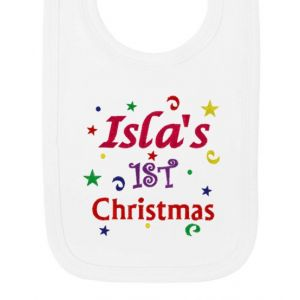 1st Christmas Confetti Girl Any Name Baby Bib