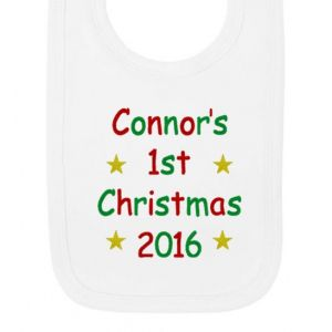 1st Christmas Text Any Name Baby Bib