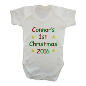 1st Christmas Text Any Name Baby Vest